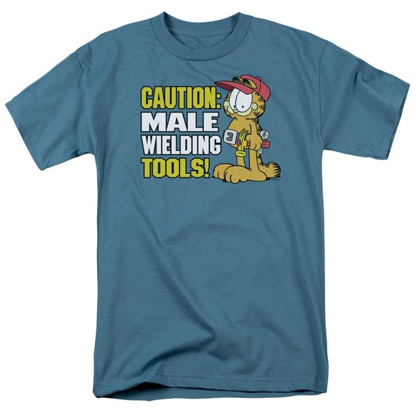 Garfield/Male Weilding Tools Short Sleeve Adult T-Shirt 18/1 in Slate