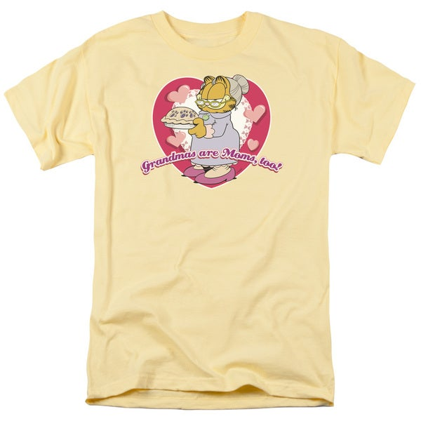 Garfield/Don't Forget Grandma Short Sleeve Adult T-Shirt 18/1 in Banana
