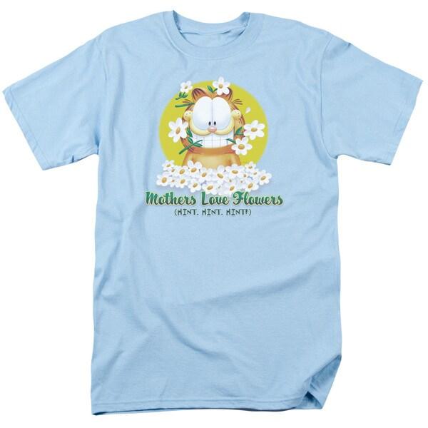 Garfield/Mother's Love Flowers Short Sleeve Adult T-Shirt 18/1 in Light Blue