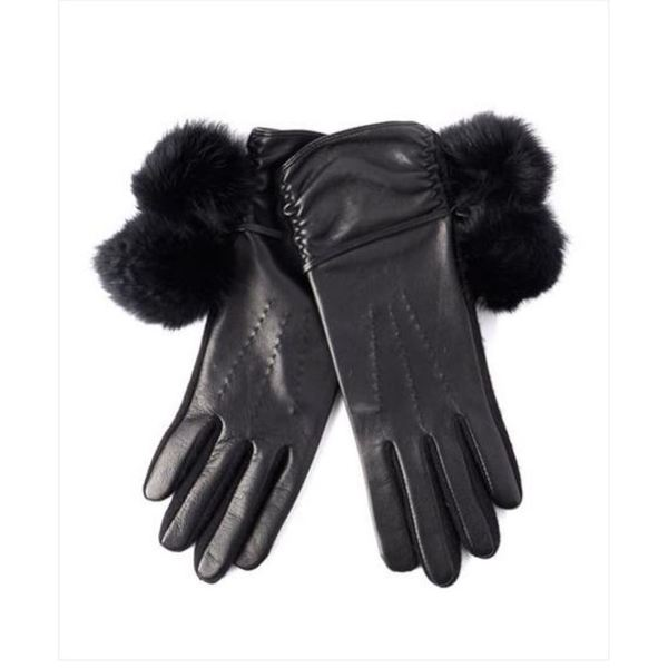 Echo Design Womens Touch Fur Pom Pom Black Leather Gloves