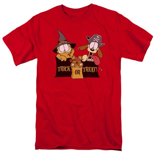 Garfield/Trick or Treat Short Sleeve Adult T-Shirt 18/1 in Red