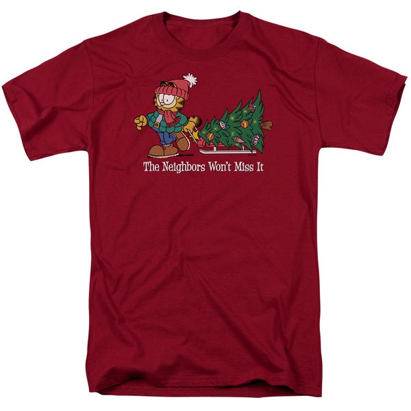 Garfield/Won't Miss It Short Sleeve Adult T-Shirt 18/1 in Cardinal