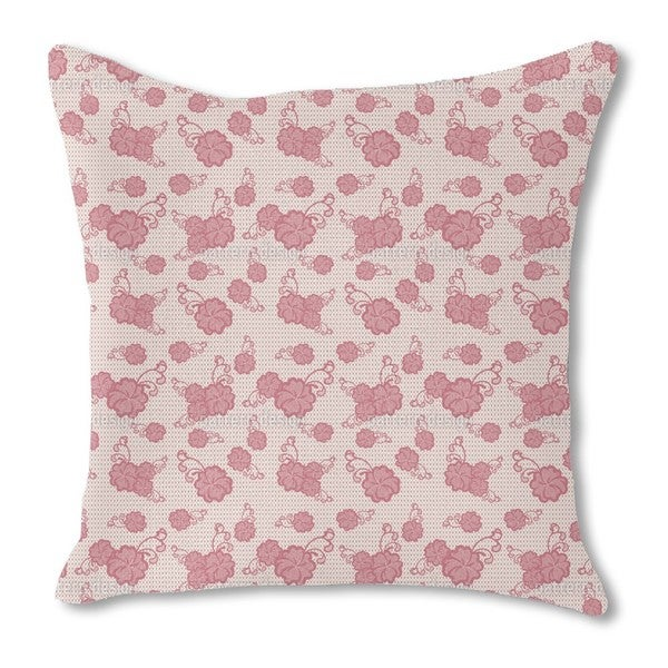 Lace Hibiscus Burlap Pillow Double Sided
