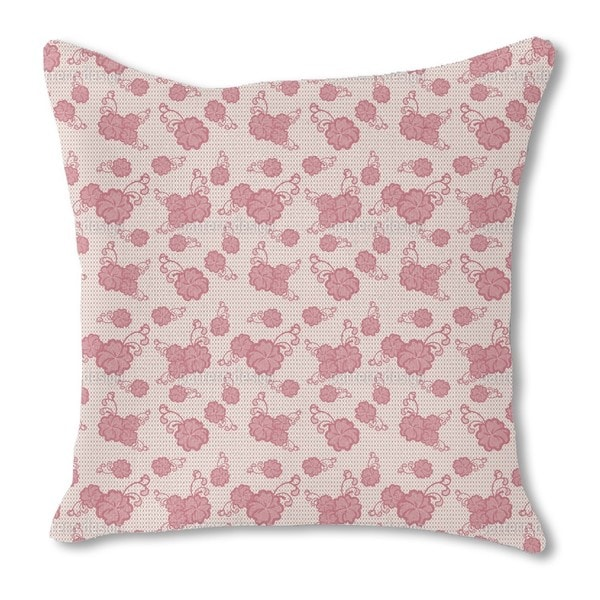 Lace Hibiscus Burlap Pillow Single Sided