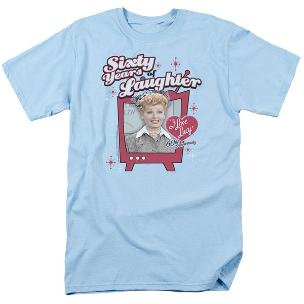 Lucy/60 Years Of Laughter Short Sleeve Adult T-Shirt 18/1 in Light Blue