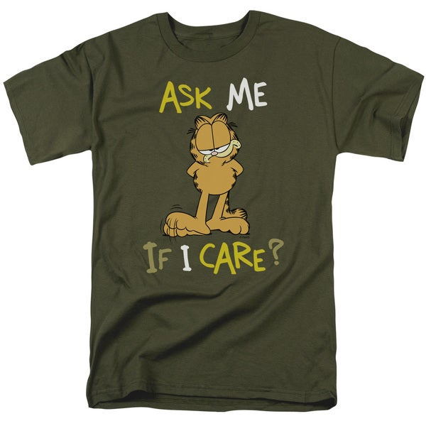 Garfield/Ask Me If I Care Short Sleeve Adult T-Shirt 18/1 in Military Green