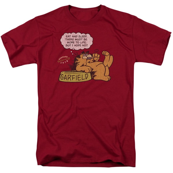Garfield/Eat and Sleep Short Sleeve Adult T-Shirt 18/1 in Cardinal