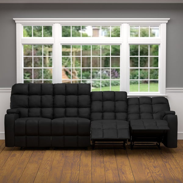 Prolounger Black Microfiber Wall Hugger Storage 4 Seat Reclining Sofa 19451221