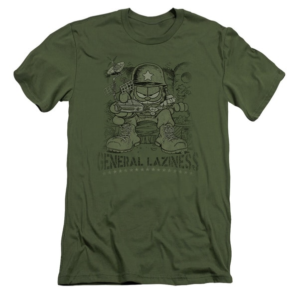 Garfield/General Laziness Short Sleeve Adult T-Shirt 30/1 in Military Green