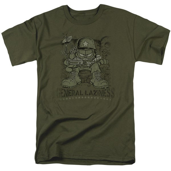 Garfield/General Laziness Short Sleeve Adult T-Shirt 18/1 in Military Green