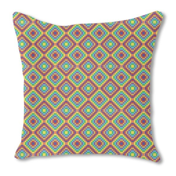 Patchwork To the Square Burlap Pillow Single Sided