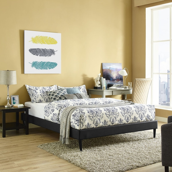 Modway Sherry Black Vinyl/Wood Round Tapered Legs Bed