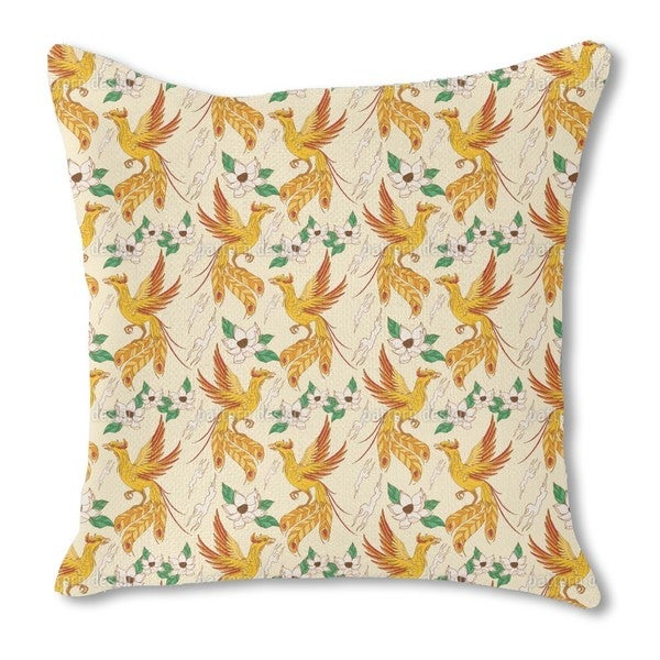 Phoenix and Lotus Burlap Pillow Double Sided