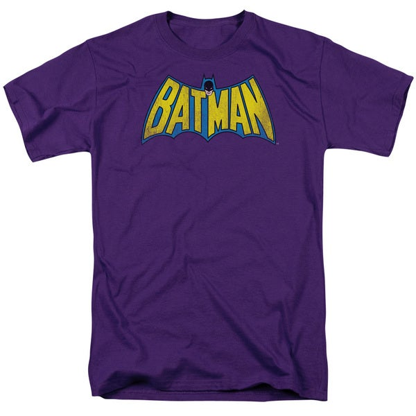 DC/Classic Batman Logo Distressed Short Sleeve Adult T-Shirt 18/1 in Purple