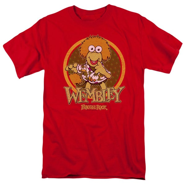 Fraggle Rock/Wembley Circle Short Sleeve Adult T-Shirt 18/1 in Red