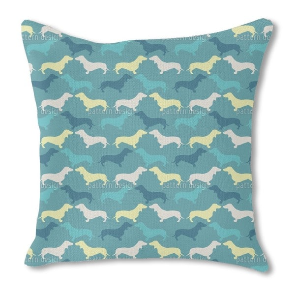 Dachshund Petrol Burlap Pillow Double Sided