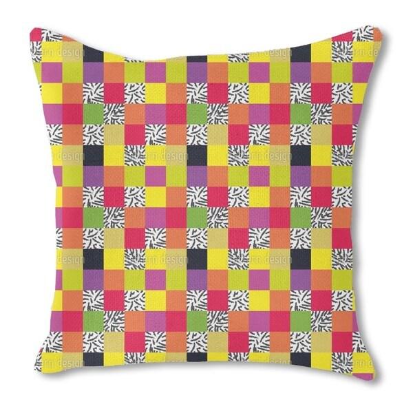 Plaid Go Wild Burlap Pillow Single Sided
