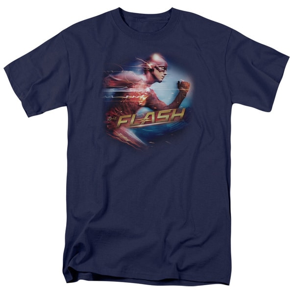 The Flash/Fastest Man Short Sleeve Adult T-Shirt 18/1 in Navy