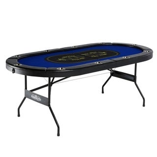 Barrington Blue Padded Wood Poker Table