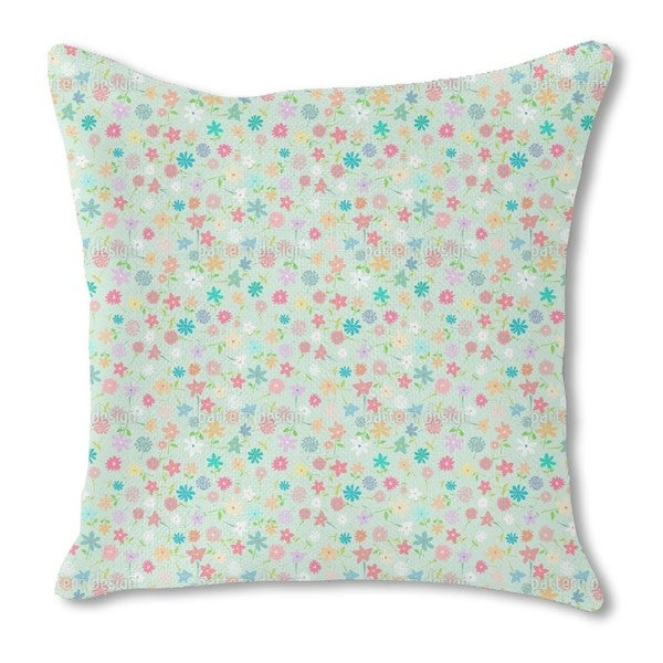 Field of Flowers Burlap Pillow Double Sided