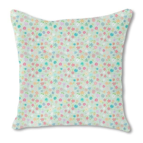 Field of Flowers Burlap Pillow Single Sided
