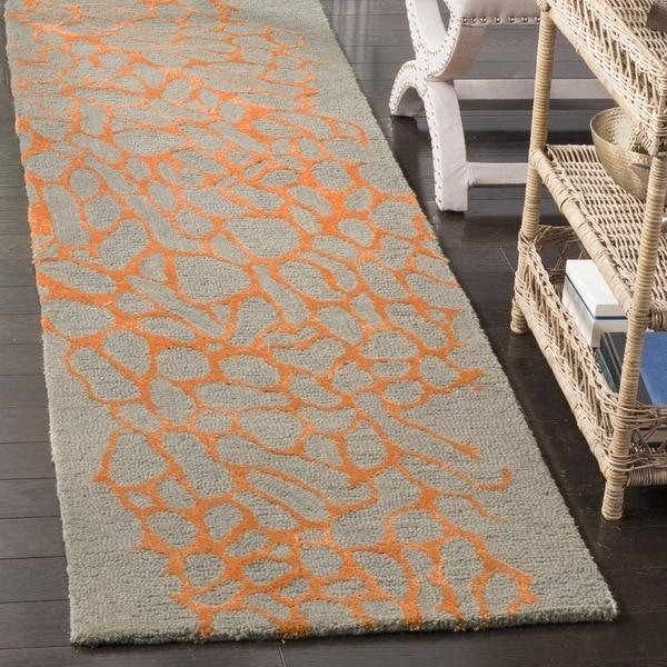 Safavieh Handmade Blossom Abstract Grey / Orange Wool Runner Rug (2' 3 x 8')