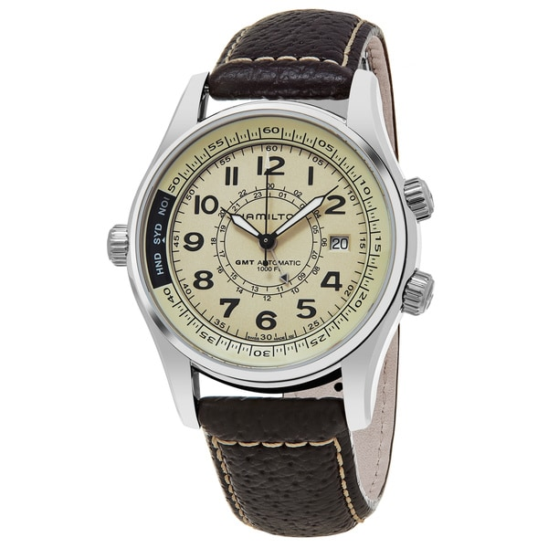 Hamilton Men's H77525553 'Khaki Navy UTC' Cream Dial Brown Leather Strap GMT Swiss Automatic Watch