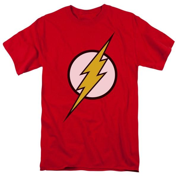 JLA/Flash Logo Short Sleeve Adult T-Shirt 18/1 in Red