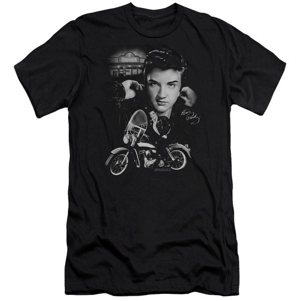 Elvis/The King Rides Again Short Sleeve Adult T-Shirt 30/1 in Black