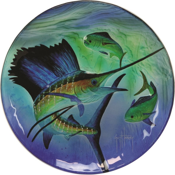 Rivers Edge Guy Harvey 12in Sailfish Glass Platter