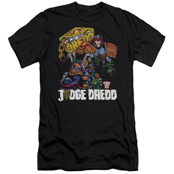 Judge Dredd/Bike and Badge Short Sleeve Adult T-Shirt 30/1 in Black
