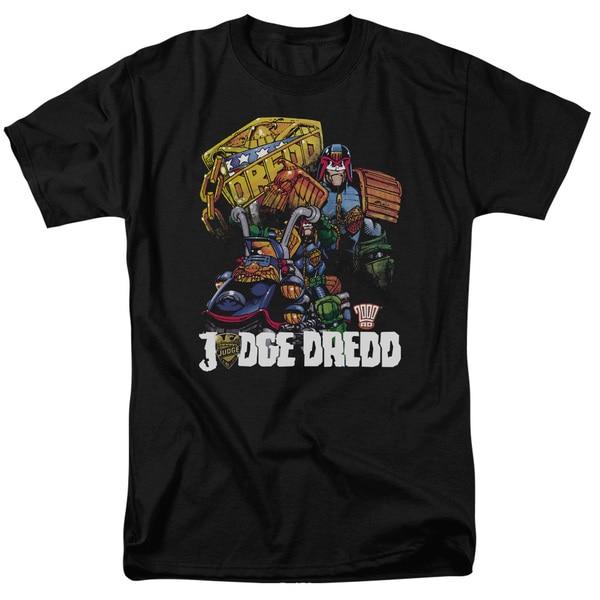 Judge Dredd/Bike and Badge Short Sleeve Adult T-Shirt 18/1 in Black/Md