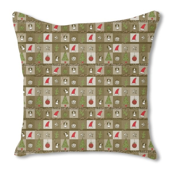 Christmas in a Wooden Box Burlap Pillow Single Sided