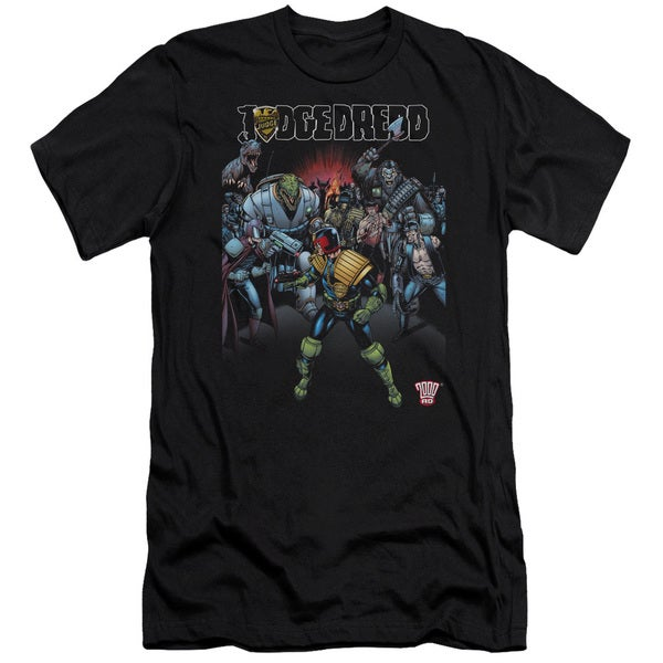 Judge Dredd/Behind You Short Sleeve Adult T-Shirt 30/1 in Black