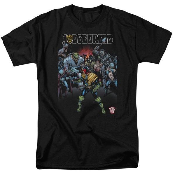 Judge Dredd/Behind You Short Sleeve Adult T-Shirt 18/1 in Black/Md