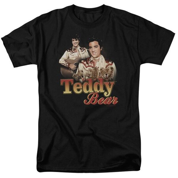 Elvis/Teddy Bear Short Sleeve Adult T-Shirt 18/1 in Black