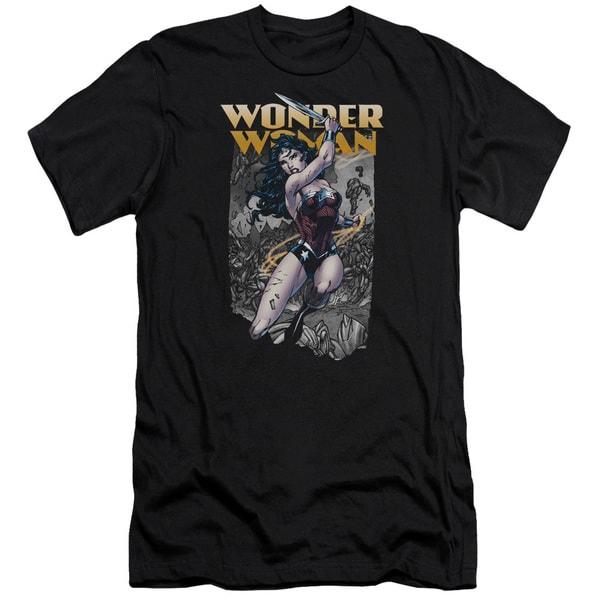JLA/Wonder Slice Short Sleeve Adult T-Shirt 30/1 in Black