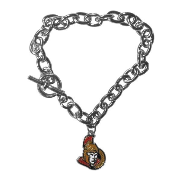 NHL Sports Team Logo Ottawa Senators High-polish Chrome Single-charm 7.5-inch Chain Bracelet