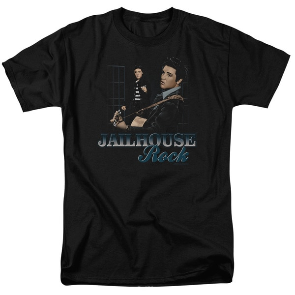 Elvis/Jailhouse Rock Short Sleeve Adult T-Shirt 18/1 in Black