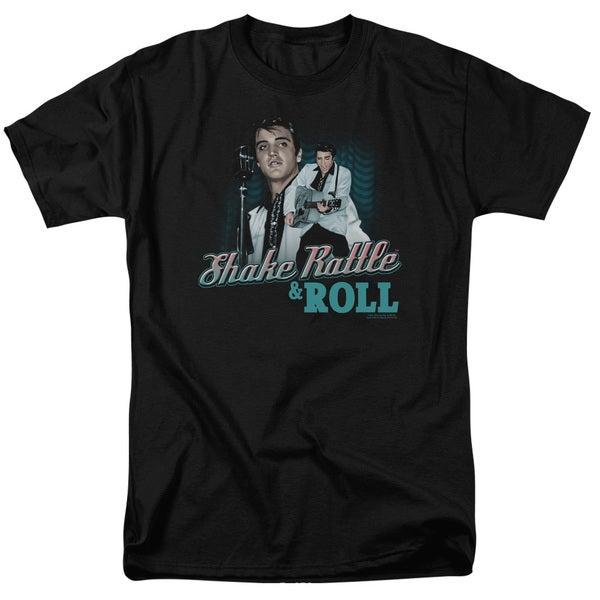 Elvishort Sleevehake Rattle & Roll Short Sleeve Adult T-Shirt 18/1 in Black