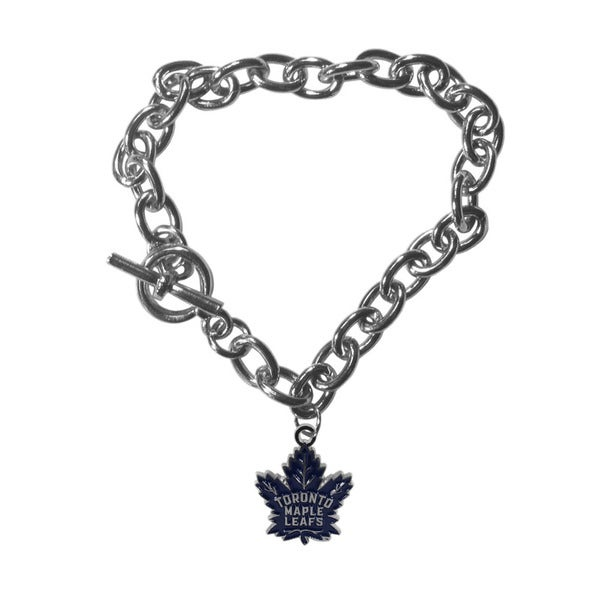 NHL Toronto Maple Leafs Sports Team Logo Charm Chain Bracelet