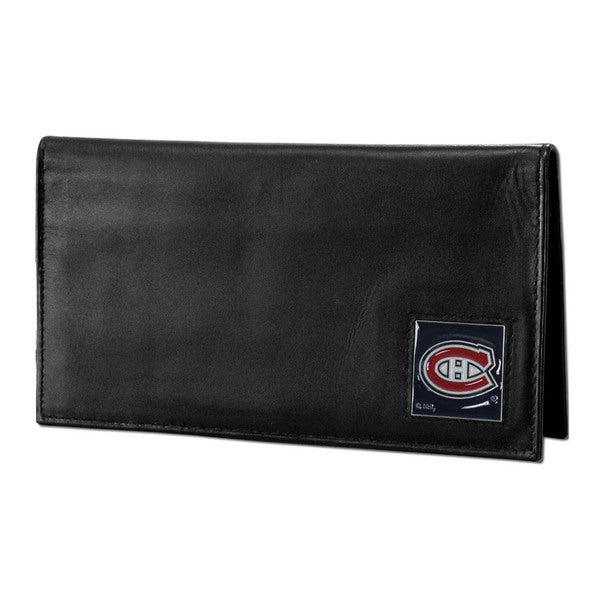 NHL Montreal Canadiens Sports Team Logo Deluxe Leather Checkbook Cover
