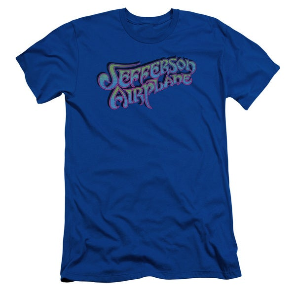 Jefferson Airplane/Gradient Logo Short Sleeve Adult T-Shirt 30/1 in Royal Blue