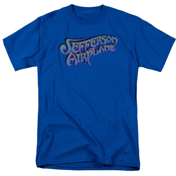 Jefferson Airplane/Gradient Logo Short Sleeve Adult T-Shirt 18/1 in Royal Blue