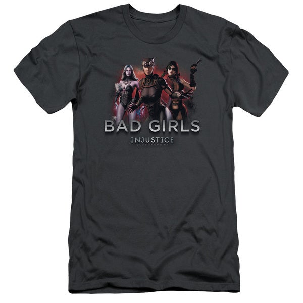 Injustice Gods Among Us/Bad Girls Short Sleeve Adult T-Shirt 30/1 in Charcoal