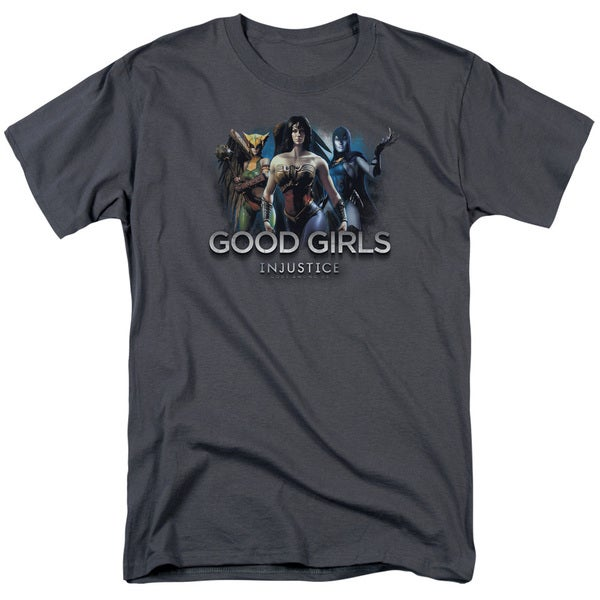 Injustice Gods Among Us/Good Girls Short Sleeve Adult T-Shirt 18/1 in Charcoal