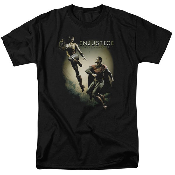 Injustice Gods Among Us/Battle Of The Gods Short Sleeve Adult T-Shirt 18/1 in Black