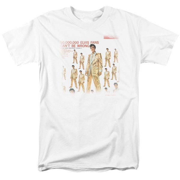 Elvis/50 Million Fans Short Sleeve Adult T-Shirt 18/1 in White