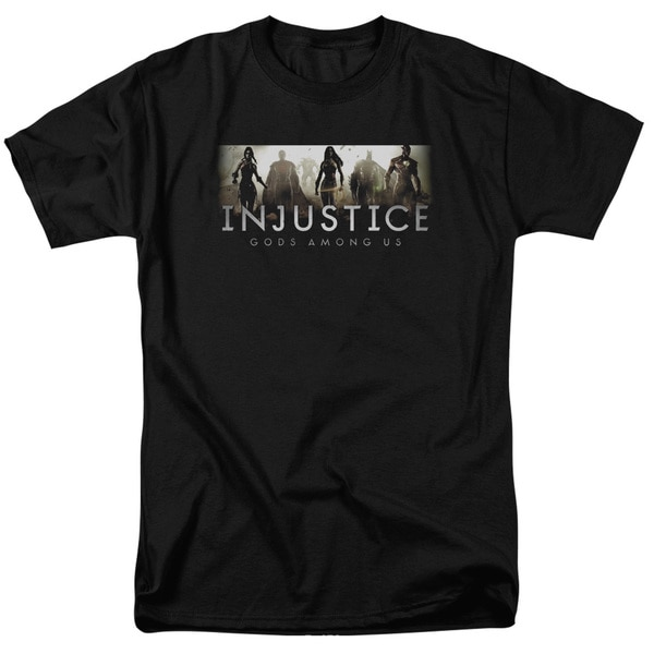 Injustice Gods Among Us/Logo Short Sleeve Adult T-Shirt 18/1 in Black