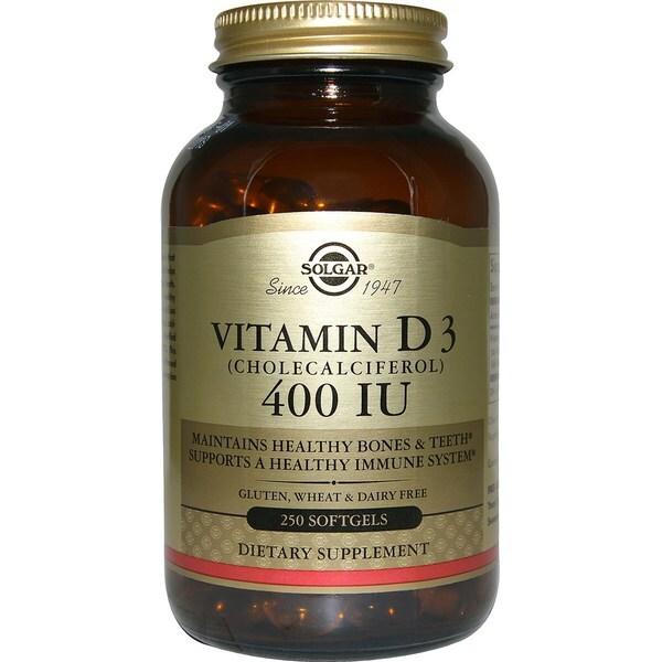 Solgar Vitamin D3 Cholecalciferol 400 IU (250 Softgels)
